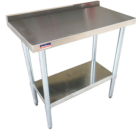 "96"" x 30"" x 36"" Work Table, Stainless Steel Undershelf with 4"" Back Splash"