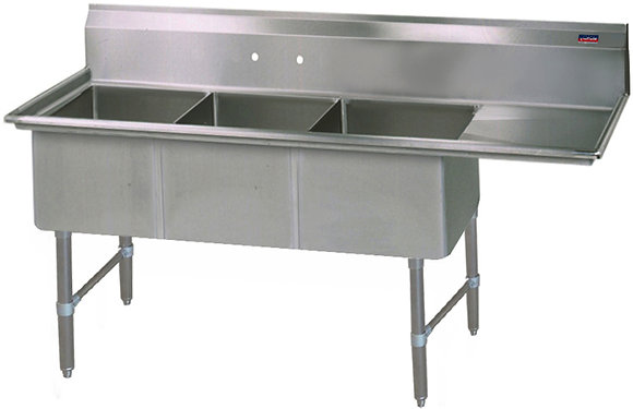 "58.5"" x 21.5"" x 36"" 3 Compartment Sinks (Heavy Duty) - Right Drainboard"
