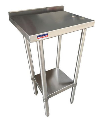 "15"" x 30"" x 36"" Filler Work Table, Galvanized Undershelf, with 2"" Back Splash"