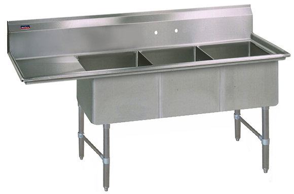 "74.5"" x 29.5"" x 36"" 3 Compartment Sinks (Heavy Duty) - Left Drainboard"