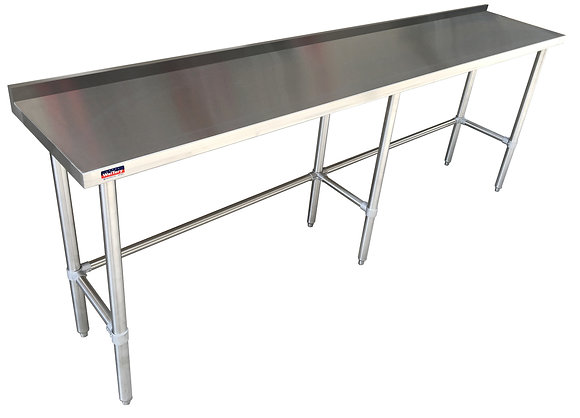 "96"" x 30"" x 36"" Work Table, Open Base, with 4"" Back Splash"