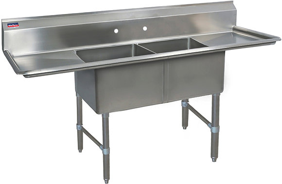 "72"" x 23.5"" x 36"" 2 Compartment Sinks (Heavy Duty) - Left and Right Drainboard"