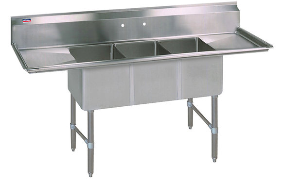 "64"" x 25.5"" x 36"" 3 Compartment Sinks (Heavy Duty) - Left and Right Drainboard"