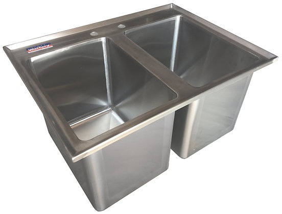 "24.5"" x 18.5"" x 12.5"" 2 Compartment Drop In Sinks"