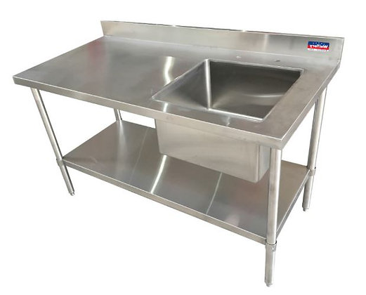 "60"" x 30"" x 36"" Work Table, Right Welded Sink and Undershelf , 4"" Back Splash"