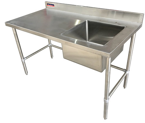 "72"" x 24"" x 36"" Work Table, Open Base with Right Welded Sink, 4"" Back Splash"