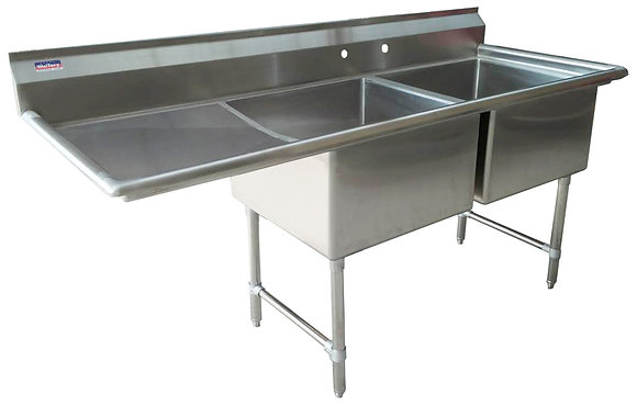 "64.5"" x 25.5"" x 36"" 2 Compartment Sinks (Advance Duty) - Left Drainboard"
