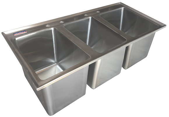 "48.5"" x 22.5"" x 12.5"" 3 Compartment Drop In Sinks"