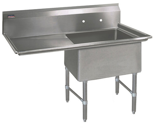 "38.5"" x 23.5"" x 36"" 1 Compartment Sinks (Heavy Duty) - Left Drainboard"