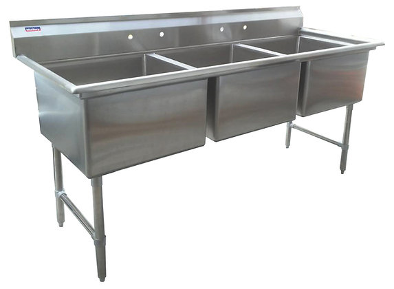 "81"" x 29.5"" x 36"" 3 Compartment Sinks (Advance Duty) - No Drainboard"