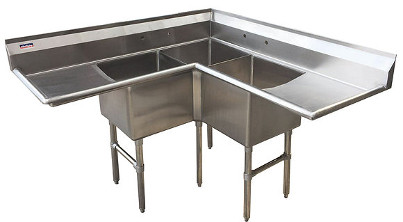 "57"" 3 Compartment Corner Sinks (Heavy Duty) - Left and Right Drainboard"