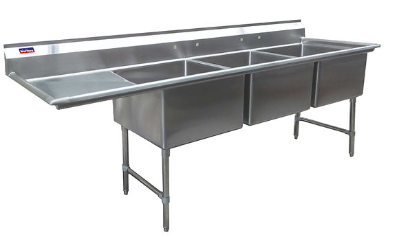 "102.5"" x 29.5"" x 36"" 3 Compartment Sinks (Advance Duty) - Left Drainboard"