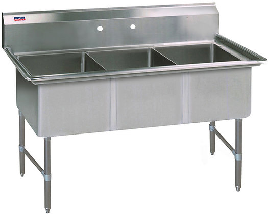 "53"" x 25.5"" x 36"" 3 Compartment Sinks (Heavy Duty) - No Drainboard"