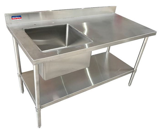 "60"" x 30"" x 36"" Work Table, Left Welded Sink and Undershelf , 4"" Back Splash"