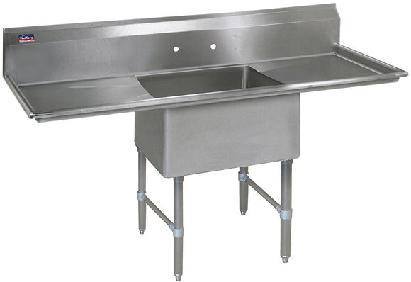 "72"" x 29.5"" x 36"" 1 Compartment Sinks (Heavy Duty) - Left and Right Drainboard"