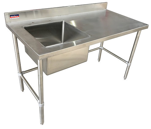 "72 "" x 24"" x 36"" Work Table, Open Base with Left Welded Sink, 4"" Back Splash"