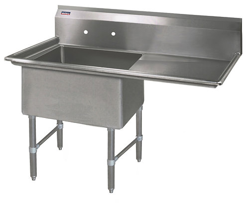 "38.5"" x 23.5"" x 36"" 1 Compartment Sinks (Heavy Duty) - Right Drainboard"