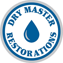Dry Master Restorations Logo - Circle with water drop in the middle and Dry Master on the top and Restorations on the bottom