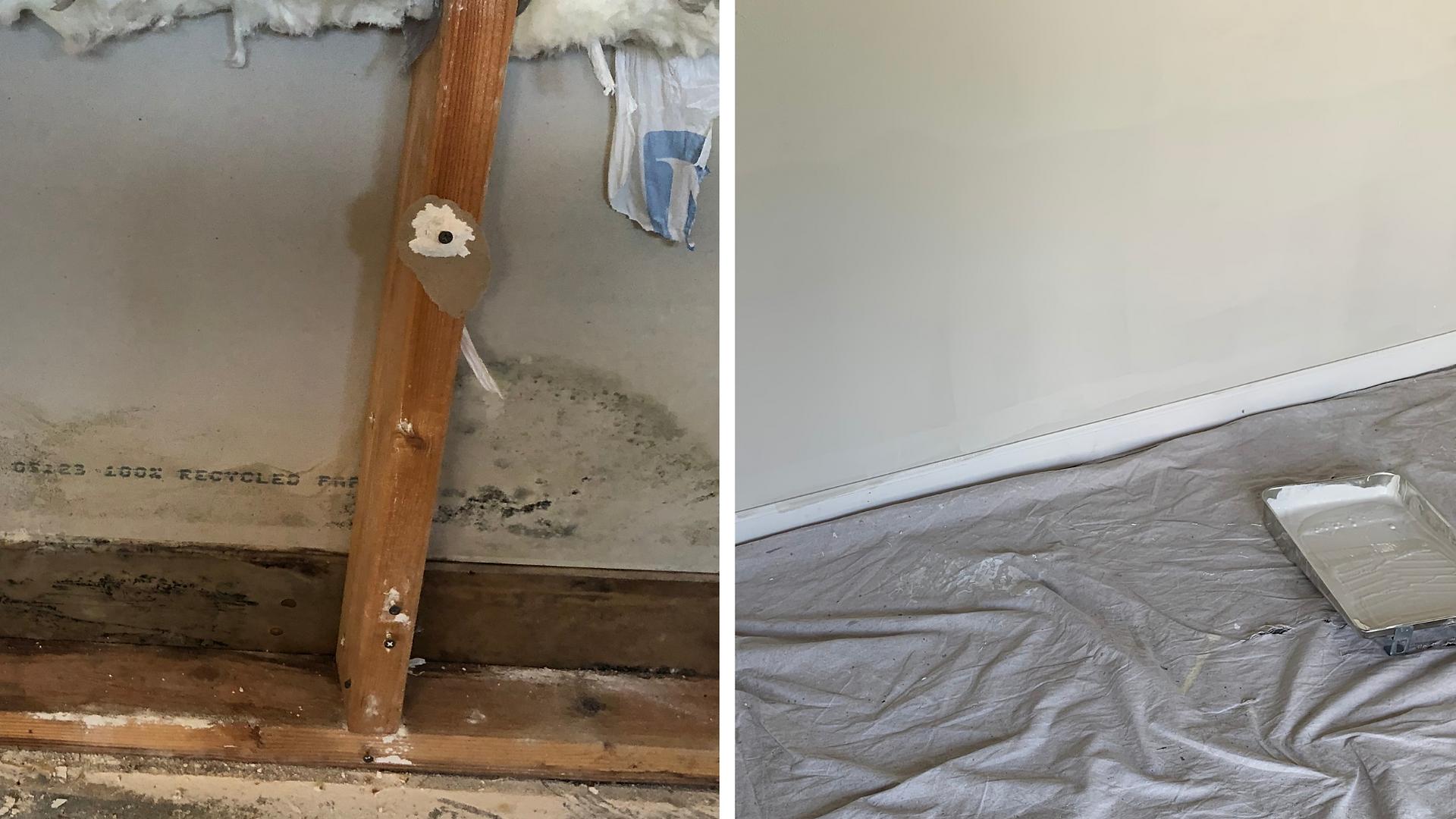 Water Damage in Home Treated Through Garage