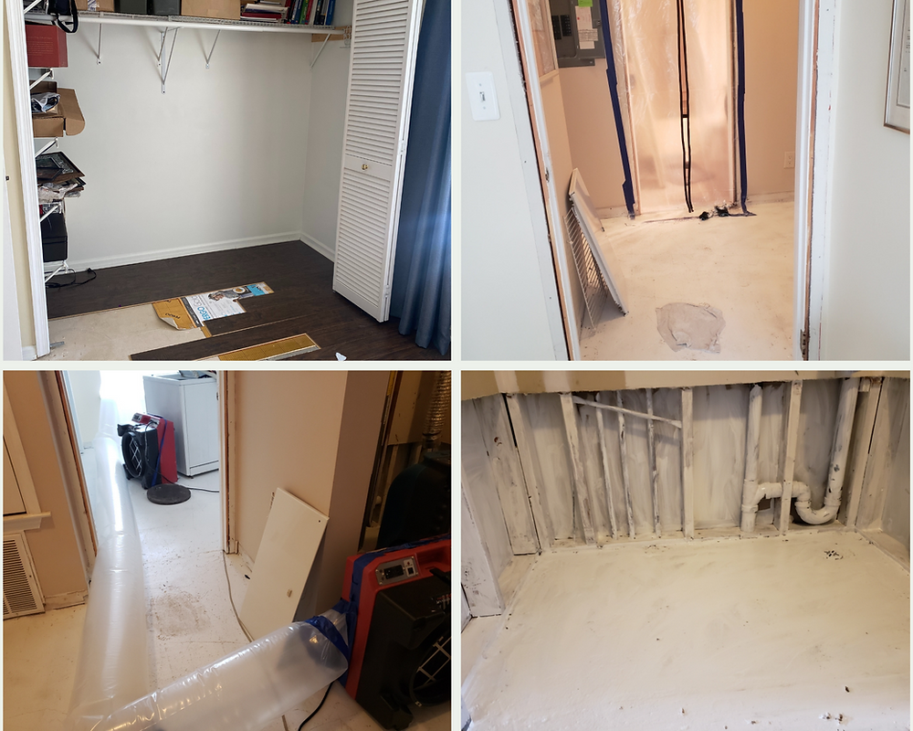 four pictures two by two clockwise: removing floor; sealing doorway with plastic; machines with plastic air tubes in hallway; wood beams in wall and floor painted white