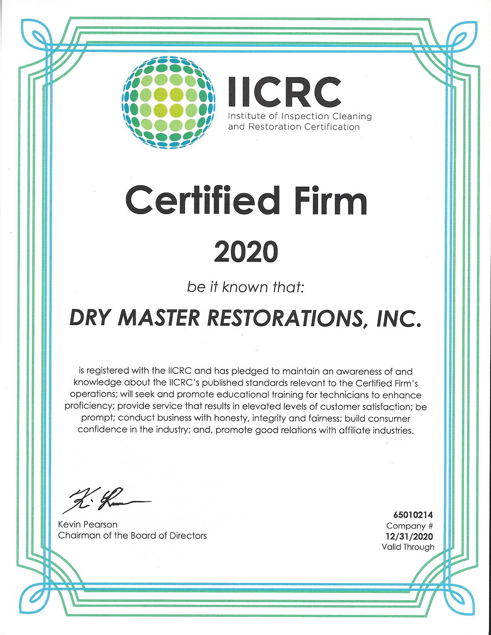 certificate that says Certified Firm 2020 Dry Master Restorations, Inc.