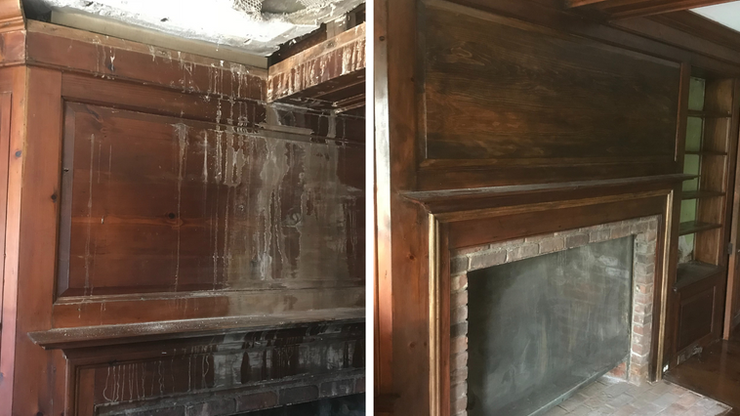 Wood Fireplace Completely Restored
