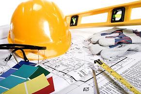 blueprints, hard hat, ruler, level, paint chips, goggles
