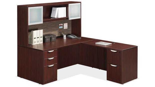 OS Laminate L-Shape Desk with Hutch