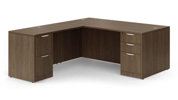 OS Modern Walnut L Shape Desk