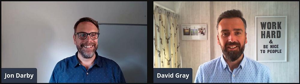 Photo of Jon Darby at BidCraft and David Gray at AM Bid discussing leadership in a new era