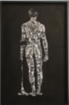 """Mark S. Thomas B/W figurative drawings with ink and wax resist 26.5""""x40.5"""""""