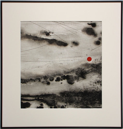 """abstract painting by artist Mark S Thomas """"Red Moon"""""""