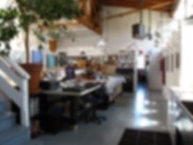 Inside the art studio of contemporary abstract artist, Mark Stephen Thomas. Oakland Ca.