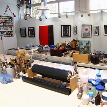 studio interiors of abstract artist Mark S Thomas