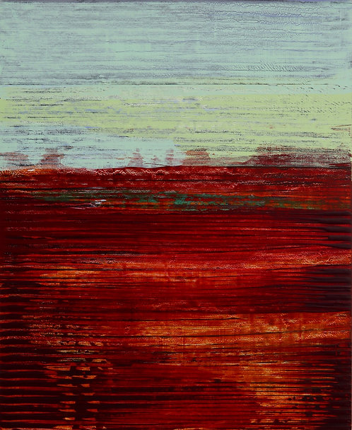 """abstract painting by artist Mark S Thomas """"Alizarin fields"""""""