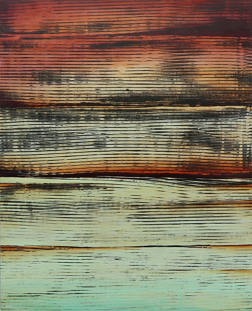 "abstract painting by artist Mark S Thomas ""Fires Across the Water"""