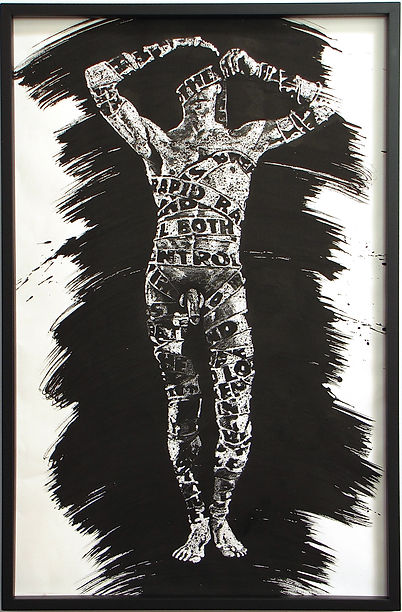 Male nude figure drawing-ink and wax-artist Mark S Thomas
