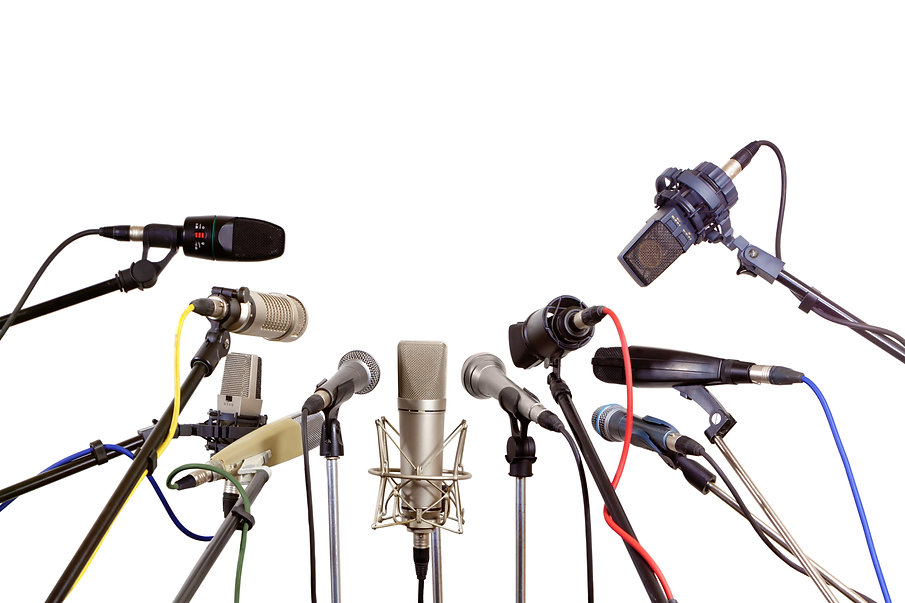 Several microphones prepared press conference - isolated on white background .jpg