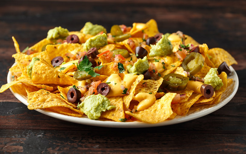 Mexican nachos tortilla chips with olive
