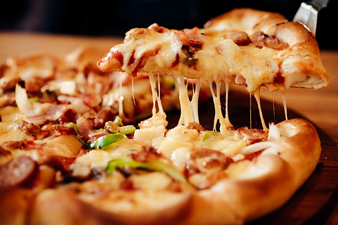 Slice of hot pizza large cheese lunch or