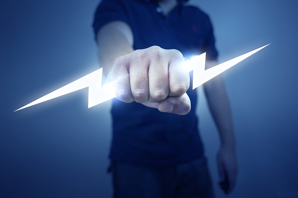A man holding a stylized electric bolt..
