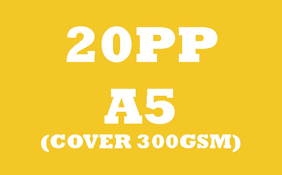 20PP A5 Cover 300GSM, Inner 130GSM Gloss OR Matt