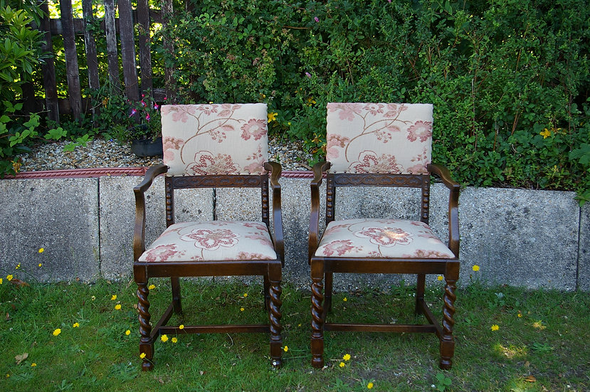2 HIGH BACK SOLID OAK CARVER CHAIRS
