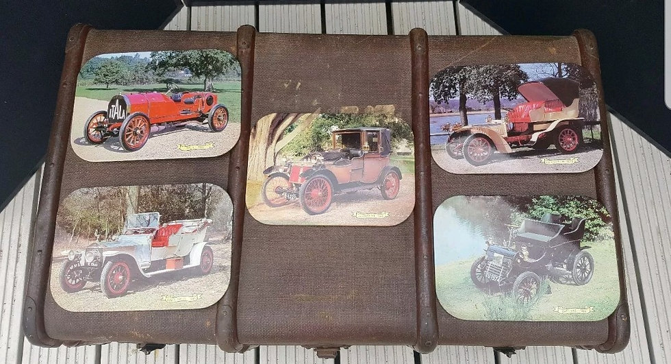 SET OF 5 COLLECTABLE 1960,S TIN COVERED CAR PLACEMATS