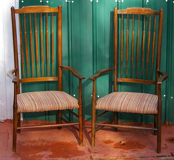 2 BEECHWOOD SPINDLE BACK CHAIRS
