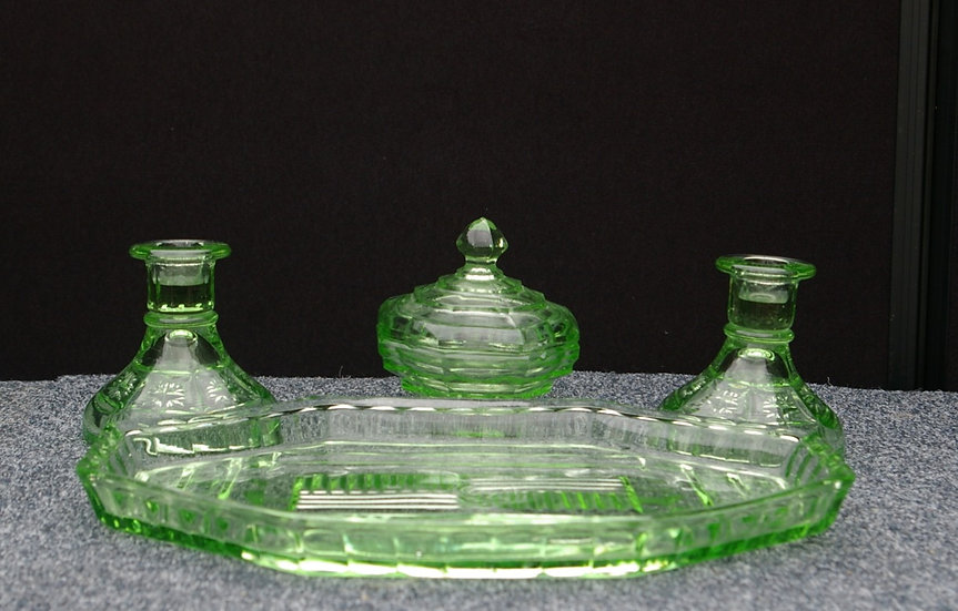 VINTAGE GREEN DEPRESSION GLASS CANDLE HOLDERS X 2 DISH WITH LID X 1 AND A TRAY
