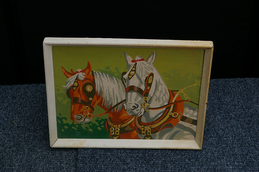 HAND PAINTED PICTURE OF TWO SHIRE HORSE,S