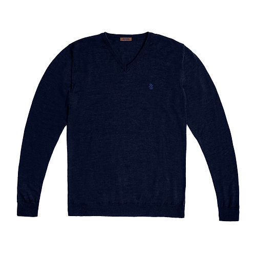 Men's Extra Fine Merino Wool V Neck Sweater
