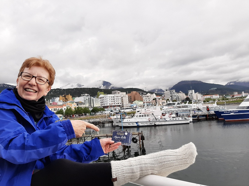 Anne with our JackSpeak Alpaca socks on in Ushuaia, Tierra Del Fuego, Argentina
