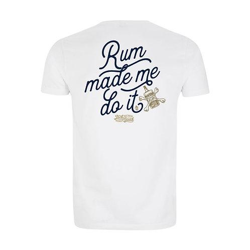 Men's White 'Rum Made Me Do It' T Shirt